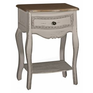 ZJW102_French Country Grey Bedside Table
