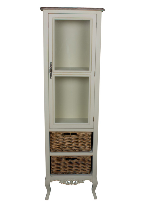 ZJW138_1_French Antique Cream Basket Cabinet