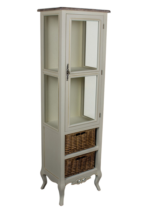 ZJW138_French Antique Cream Basket Cabinet