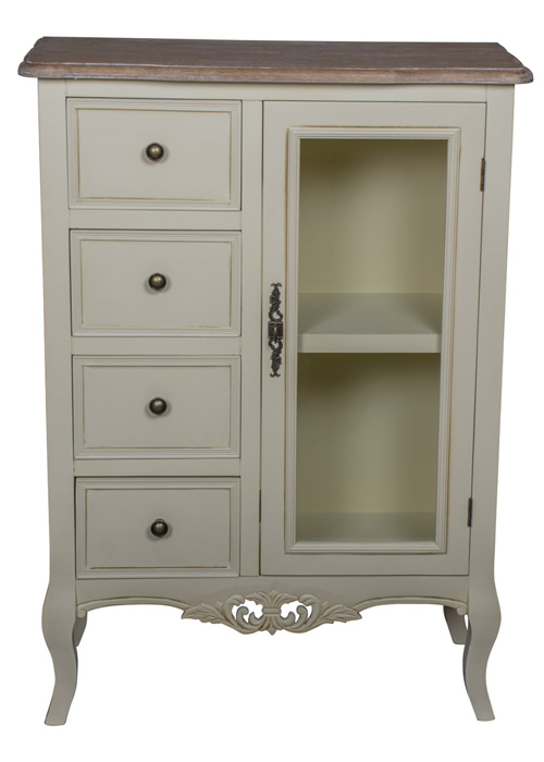 ZJW147_1_Country Grey Brown Glass Cabinet