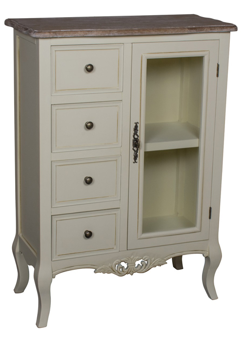 ZJW147_Country Grey Brown Glass Cabinet