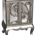 pls044_Mirrored Grey Silver Vine Storage Cupboard Cabinet