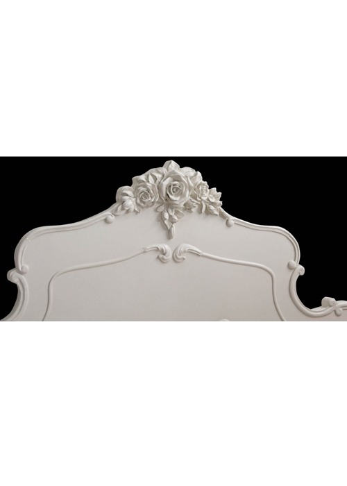 pls056-10_White Rose Floral King Size Bed Frame