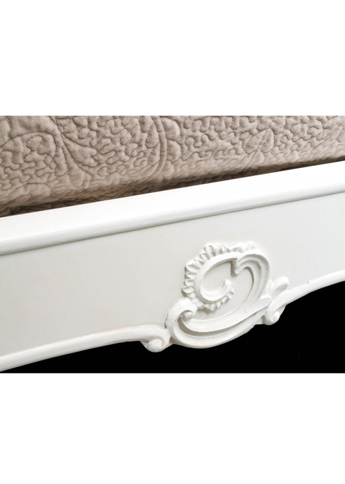pls056-7_White Rose Floral King Size Bed Frame