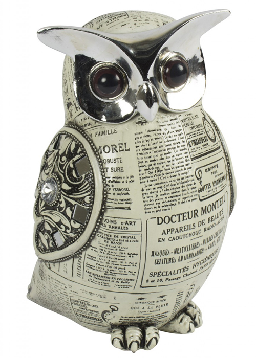 SPW006_Vintage Style Owl Silver Ornament