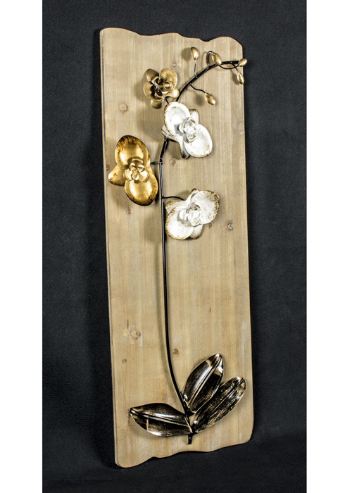 SYD005_3_Rustic Wooden Gold Floral Wall Art