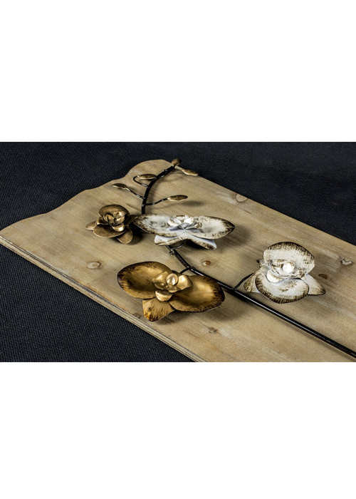 SYD005_4_Rustic Wooden Gold Floral Wall Art