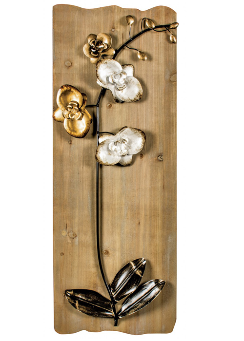 SYD005_Rustic Wooden Gold Floral Wall Art