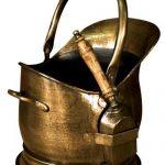 qpr008_Antique Bronze Coal Scuttle With Shovel