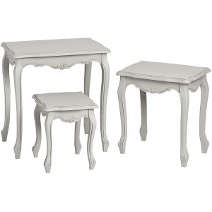 17049- a French Vintage Grey Nested Tables Set