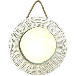 EG009 Country Style White Wicker Mirror