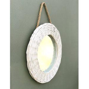 EG009_1 Country Style White Wicker Mirror