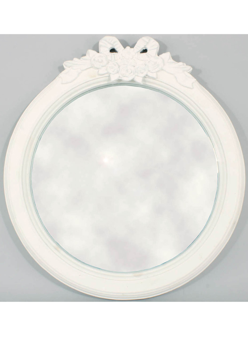 LK902-1 Shabby Chic Floral Ribbon White Mirror