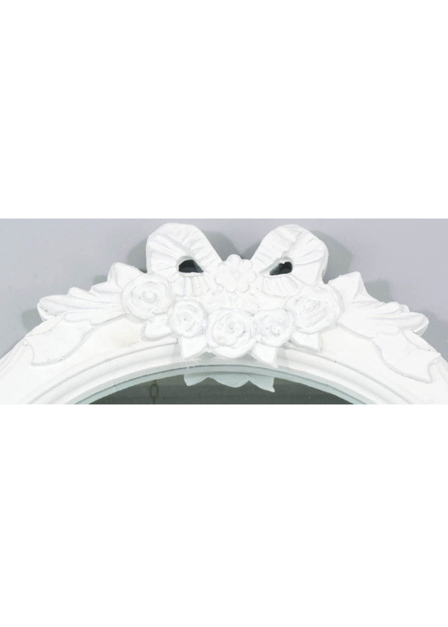 LK902-4 Shabby Chic Floral Ribbon White Mirror