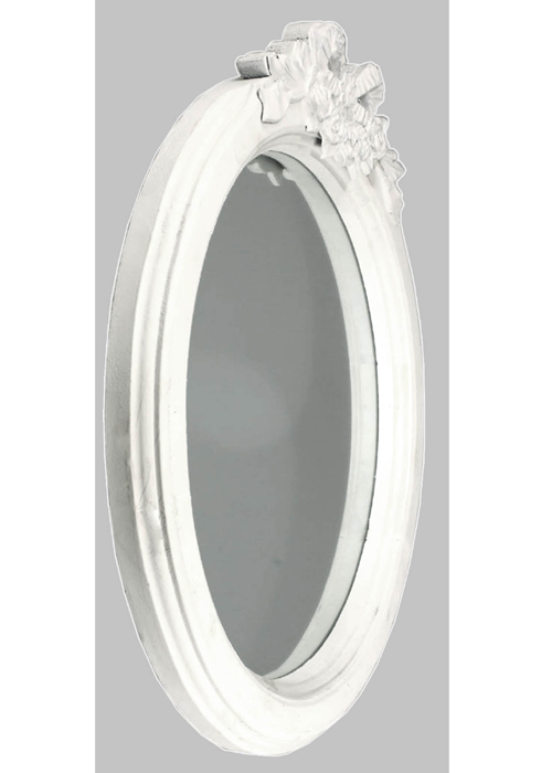 LK902-5 Shabby Chic Floral Ribbon White Mirror