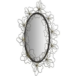 MNX271_Black Bronze Flowers Oval Mirror