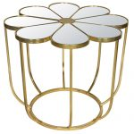 MNX288_Flower Gold Metal Mirrored Glass Table