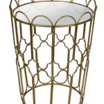 MNX299_Ornate Gold Metal Mirrored Glass Table