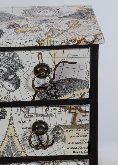 NYC121_4_Vintage Map Black 3 Drawer Storage Chest
