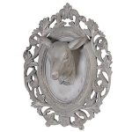 TEA351 Ornate Grey Deer Head Wall Plaque