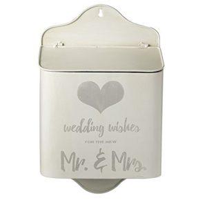 lbx114 White Silver Grey Wedding Wishes Box