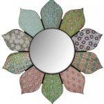 nyc111_Shabby Chic Flower Petals Wall Mirror