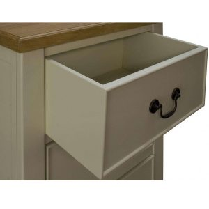okl006-drawer-detail_Country Cream Brown Wooden Tall Boy