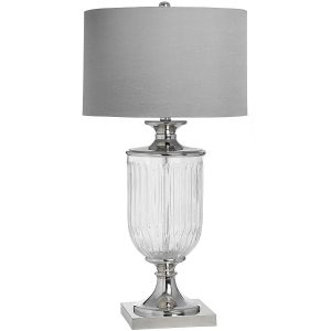 16878 Large Grey Silver Glass Table Lamp