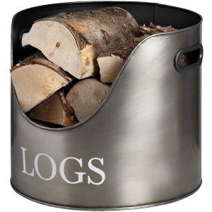 17528 Antique Pewter Grey Log Basket Container