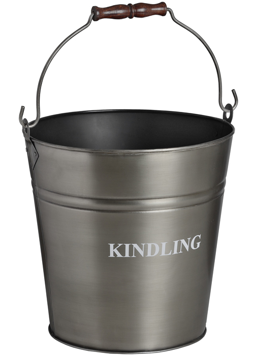 17540-a Antique Pewter Grey Kindling Bucket