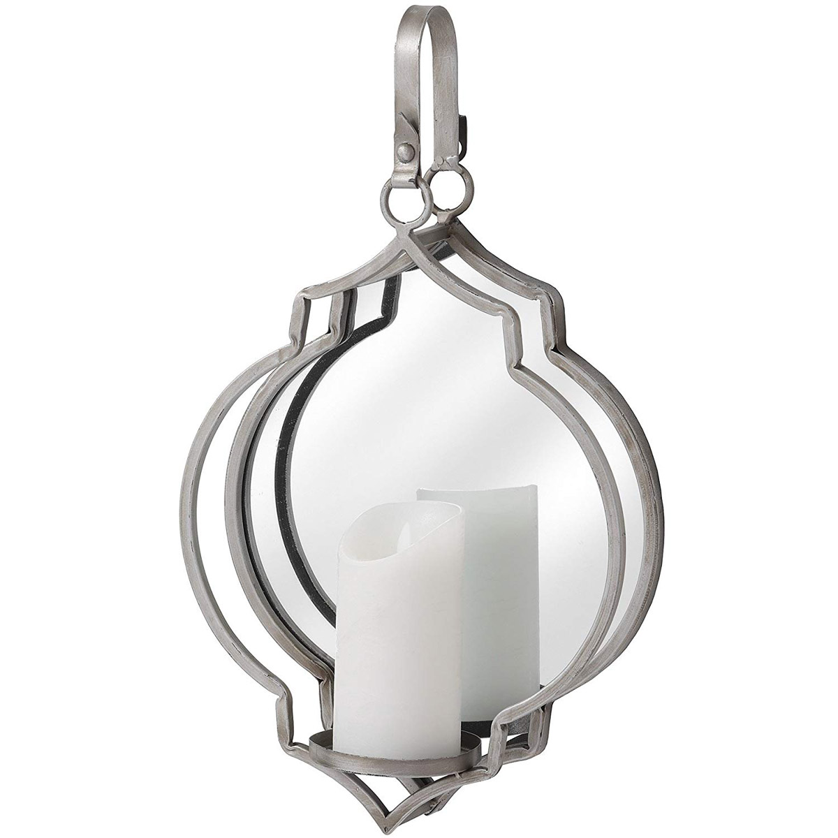 Quatrefoil Silver Mirror Wall Sconce Interior Flair