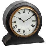 18539 Large Antique Black Gold Mantel Clock