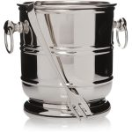 28262_Polished Silver Metal Bucket with Tongs