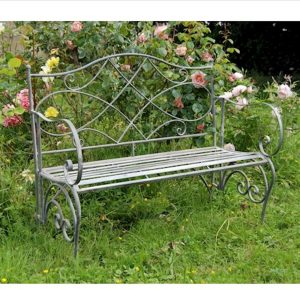 4126 Vintage Grey Metal Folding Garden Bench a
