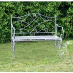 4126 a Vintage Grey Metal Folding Garden Bench