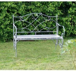 4126 a Vintage Grey Metal Folding Garden Bench