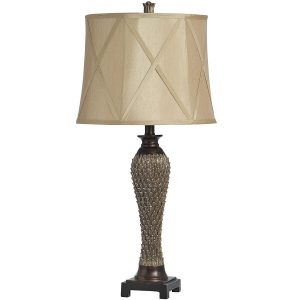 8906 Antique Gold Bronze Carved Table Lamp