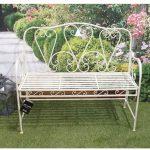 Antique Cream Metal Garden Bench