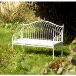 Country Style Cream Metal Garden Bench