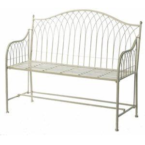 Country Style Cream Metal Garden Bench 2