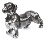 MP147A Antique Silver Standing Dachshund Dog Ornament