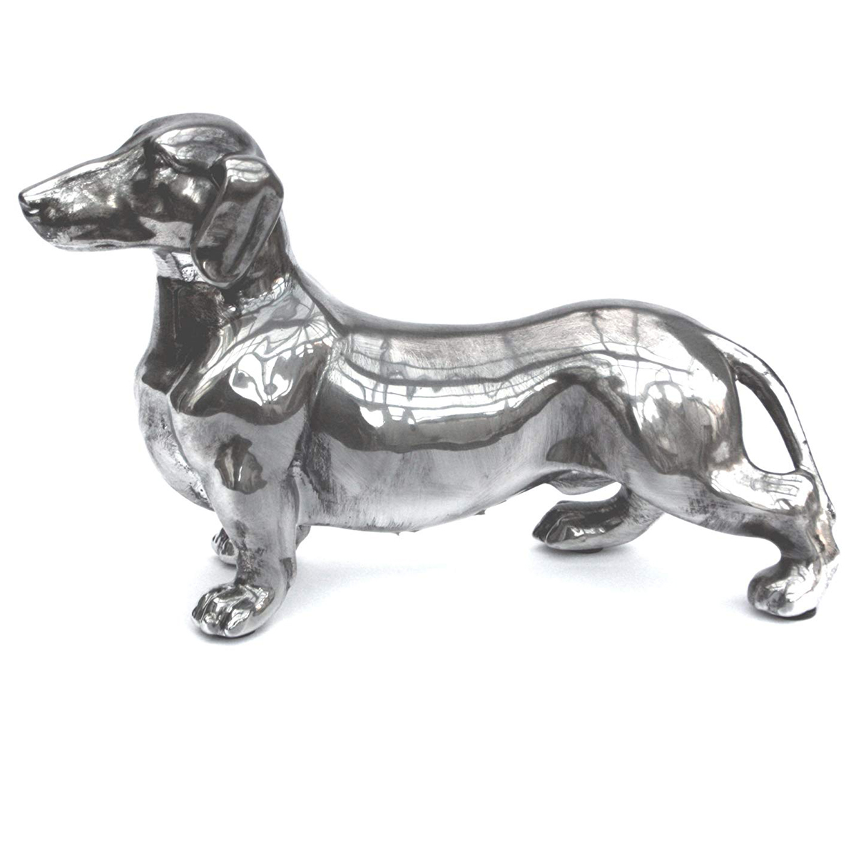 MP147A_1 Antique Silver Standing Dachshund Dog Ornament