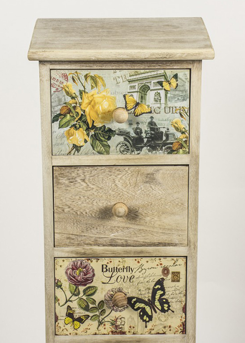 PAX001_1_Tall Vintage Style Floral Chest of Drawers