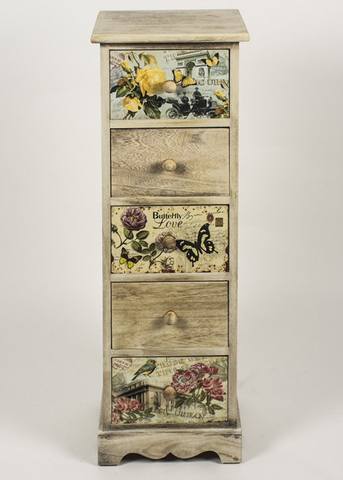 PAX001_3_Tall Vintage Style Floral Chest of Drawers