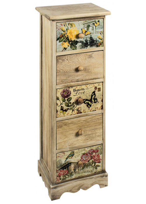 PAX001__Tall Vintage Style Floral Chest of Drawers