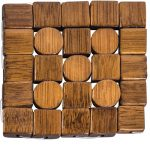PFI004__Circles Squares Wood Brown Coasters