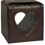 PFJ158_Love Heart Cut Out Brown Stool