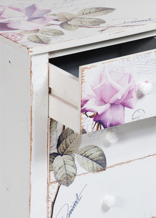 PFJ343_drw_detail_Vintage Style Rose White Pink Side Table