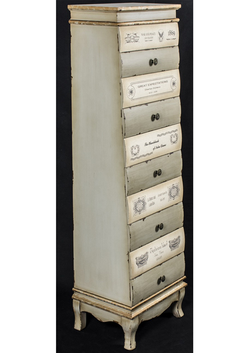 PGO049_4_Tall Grey Books Chest of Drawers