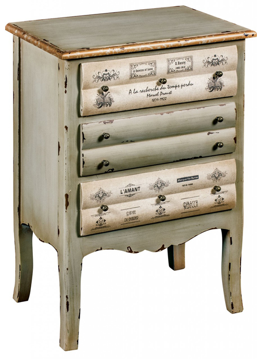 PGO052_Shabby Chic Grey Books Chest of Drawers